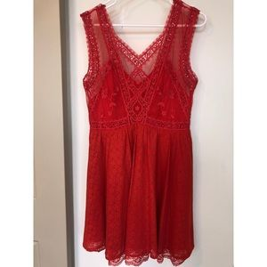 Free People Red Lace Floral Dress